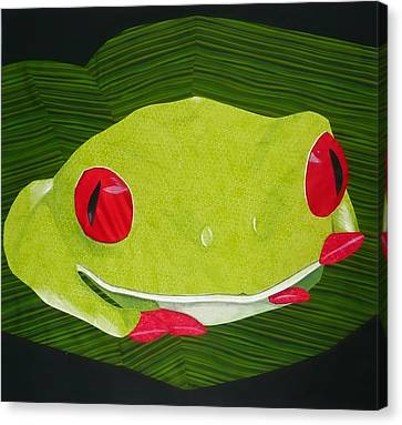 Canvas Print featuring the tapestry - textile Red Eyed Tree Frog by Jo Baner