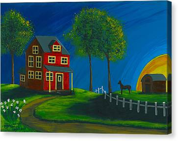 Canvas Print featuring the painting Red Farm House by Gail Finn