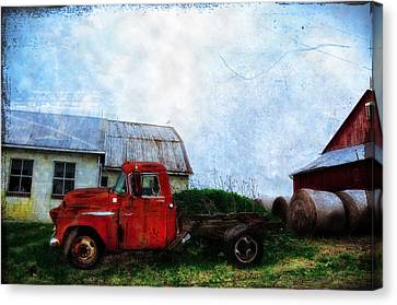 Red Farm Truck Canvas Print by Bill Cannon