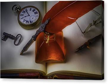 Book Collecting Canvas Print - Red Feather Pen by Garry Gay