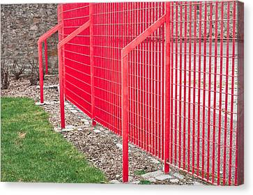 Industrial Concept Canvas Print - Red Fence by Tom Gowanlock