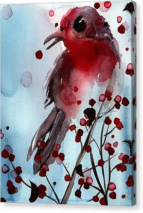 Red Finch In The Winterberry Canvas Print by Dawn Derman