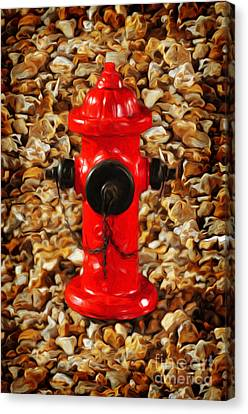 Red Fire Hydrant Canvas Print by Andee Design