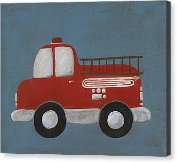Red Fire Truck Nursery Art Canvas Print by Katie Carlsruh