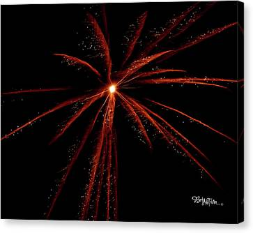 Canvas Print featuring the photograph Red Fireworks #0699 by Barbara Tristan