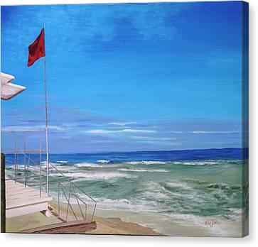 Red Flag At Waveland 2 Canvas Print