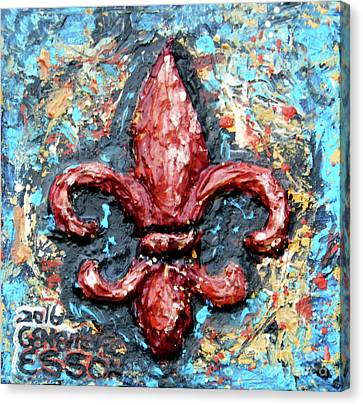 Canvas Print featuring the painting Red Fleur De Lis by Genevieve Esson
