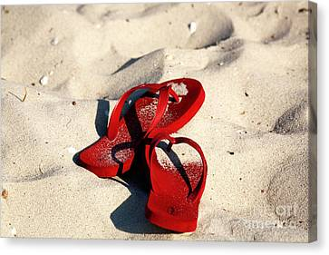 Canvas Print featuring the photograph Red Flip Flops by John Rizzuto