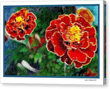 Canvas Print featuring the photograph Red Flower In Autumn by Joan  Minchak