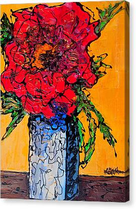 Canvas Print featuring the painting Red Flower Square Vase by Laura  Grisham