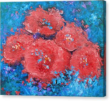 Red Flowers Abstract Canvas Print