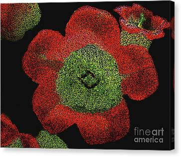 Canvas Print featuring the digital art Red Flowers - Hand Painted Then Digitally Pointillized by Merton Allen