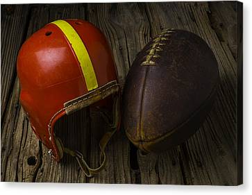 Sports Collectibles Canvas Print - Red Football Helmet by Garry Gay