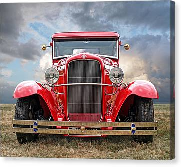 Red Ford Coupe Head On Canvas Print by Gill Billington
