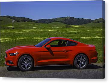 Ford Plant Canvas Print - Red Ford Mustang by Garry Gay