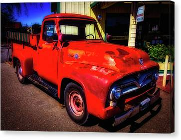 Red Ford Pick Up Canvas Print by Garry Gay