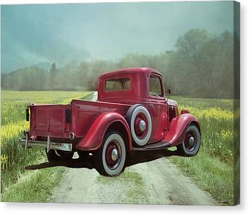 Canvas Print featuring the photograph Red Ford Pick-up by Robin-Lee Vieira
