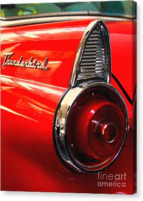 Red Ford Thunderbird . Automotive Art Series Canvas Print by Wingsdomain Art and Photography