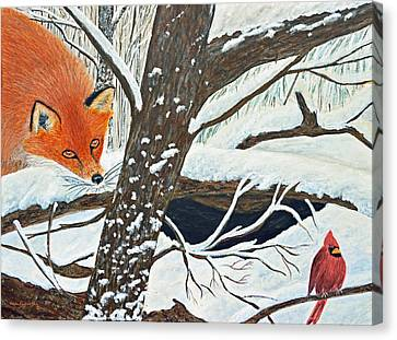 Red Fox And Cardinal Canvas Print