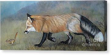 Red Fox Encounter Canvas Print by Charlotte Yealey