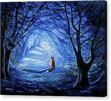 Red Fox In Blue Cypress Grove Canvas Print by Laura Iverson