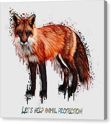 Red Fox In Tears Digital Painting Canvas Print