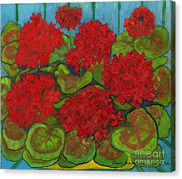 Polish Folk Art Canvas Print - Red Geranium by Anna Folkartanna Maciejewska-Dyba