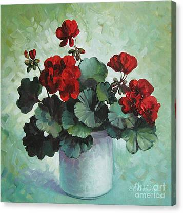 Canvas Print featuring the painting Red Geranium by Elena Oleniuc