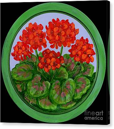 Red Geranium On Wood Canvas Print by Anna Folkartanna Maciejewska-Dyba