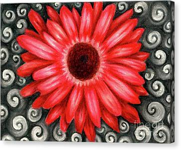 Red Gerbera Daisy Drawing Canvas Print