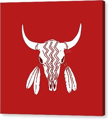 Red Ghost Dance Buffalo Canvas Print by Steamy Raimon