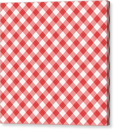 Red Gingham Fabric Cloth Canvas Print
