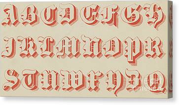 Red Gothic Font Canvas Print