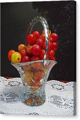 Canvas Print featuring the photograph Red Grapes In Crystal And Lace by Margie Avellino