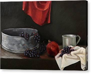 Red Grapes Canvas Print by Raimonda Jatkeviciute-Kasparaviciene