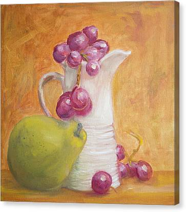 Canvas Print featuring the painting Red Grapes White Milk Green Pear by Kara Evelyn-McNeil