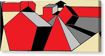 Red, Grey, Cream 2 Canvas Print