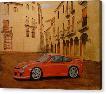 Canvas Print featuring the painting Red Gt3 Porsche by Richard Le Page