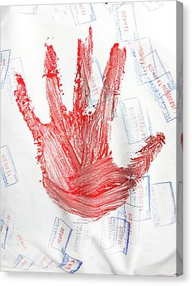 Red Hand Print Canvas Print by Tom Gowanlock
