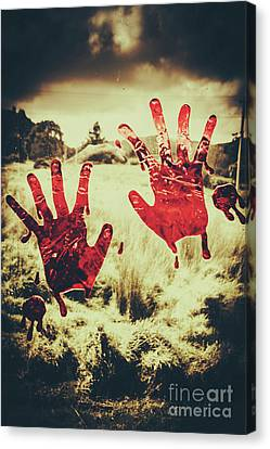 Red Handprints On Glass Of Windows Canvas Print by Jorgo Photography - Wall Art Gallery