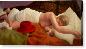 Canvas Print featuring the painting Red Hat 7 by Donelli  DiMaria