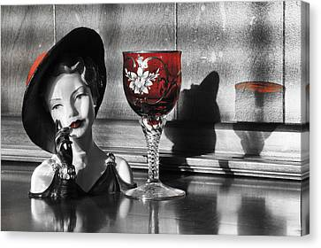 Red Hat Lady Canvas Print by Greg Sharpe
