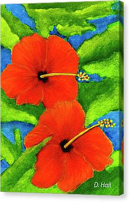 Red Hawaii Hibiscus Flower #267 Canvas Print by Donald k Hall