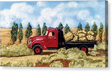 Red Hay Truck Canvas Print by Jan Amiss