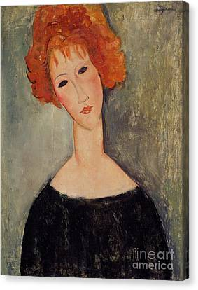 Late Canvas Print - Red Head by Amedeo Modigliani