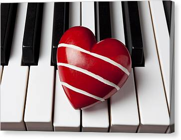 Piano Canvas Print - Red Heart With Stripes by Garry Gay