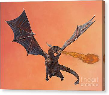 Red Hell Dragon Canvas Print by Corey Ford