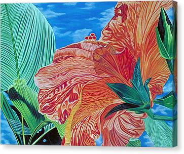 Red Hibiscus And Palms Canvas Print by Stephen Mack