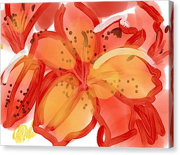Indian Ink Canvas Print - Red Hibiscus by Carl Griffasi