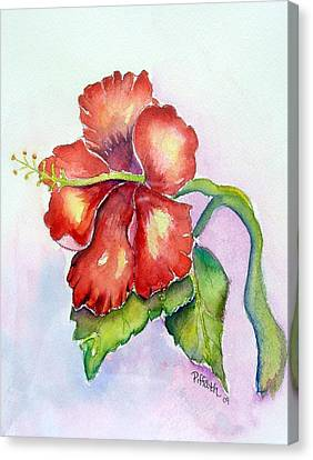 Canvas Print featuring the painting Red Hibiscus by Patricia Piffath